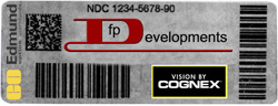 Figure 1. The 2D code (upper left of label) can contain significant amounts of information regarding content, dosage, and production history.