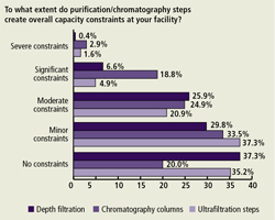 "Relatively few respondents reported experiencing ""significant"" or ""severe"" capacity constraints due to depth filtration and ultrafiltration issues."